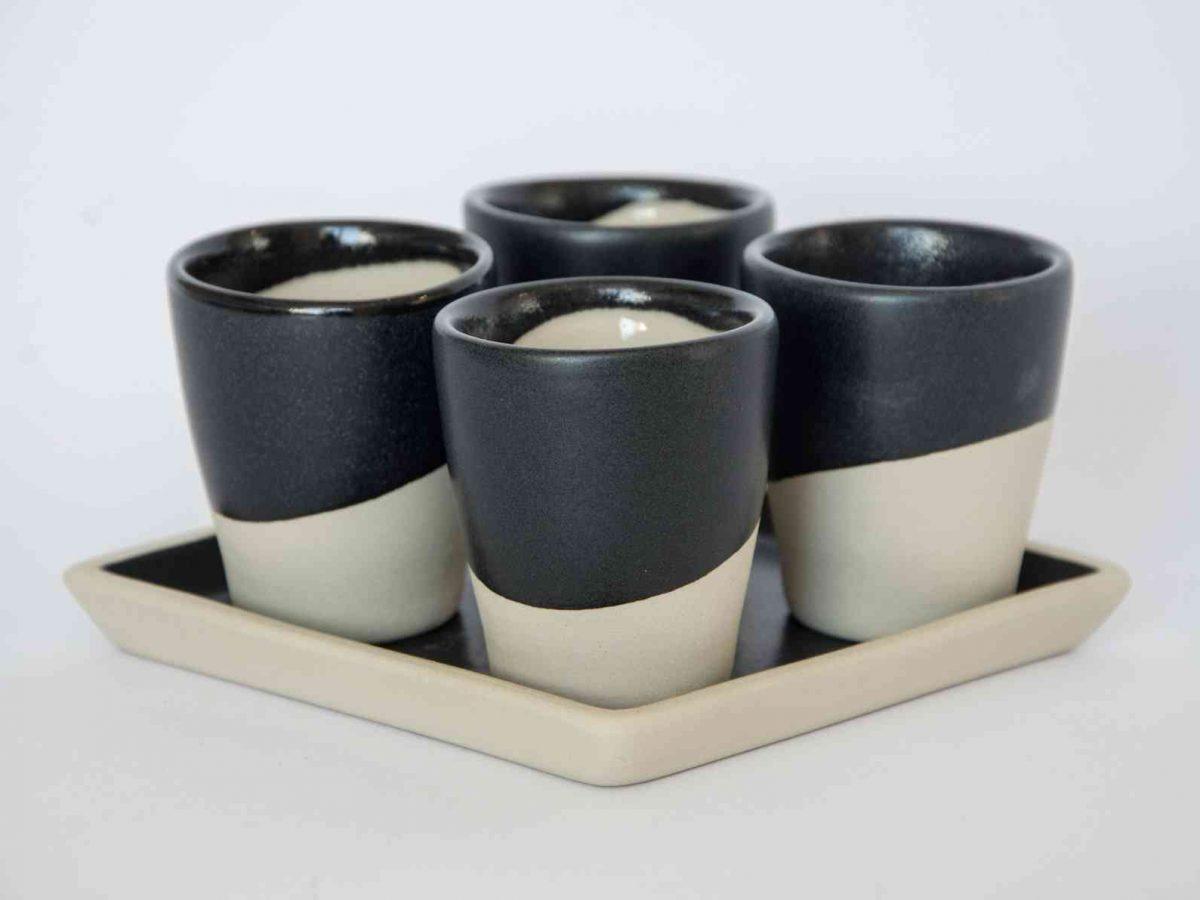 """Set of 4 Cups """"MIO TUO"""" - Square Black-0"""
