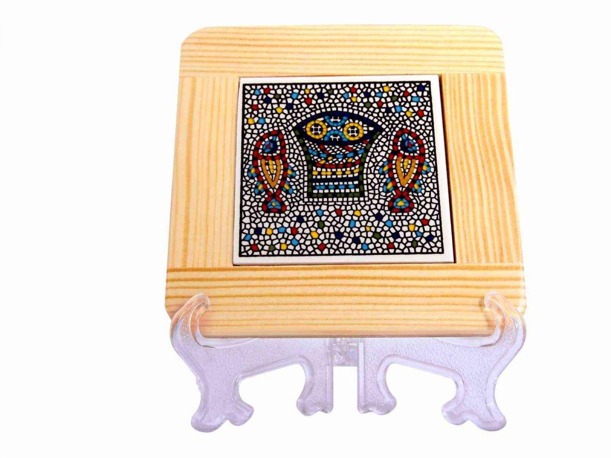 Armenian Ceramics and White Olive Wood Coaster -0