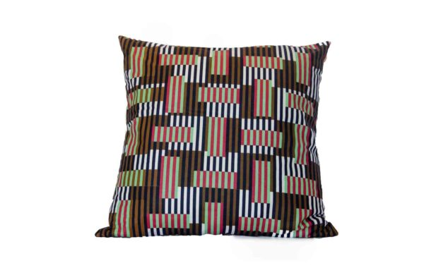 Catholic Vlisco Wax Red Lines Pillow - Tailored in Italy-0