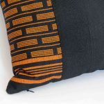 Orange Carrot Black Pillow Inspired by Senegal Craft, Made in Italy-725