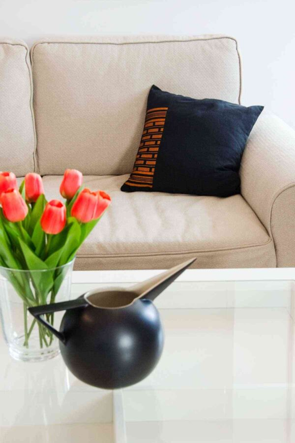 Orange Carrot Black Pillow Inspired by Senegal Craft, Made in Italy-0