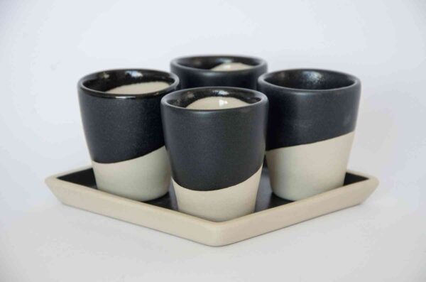 "Set of 4 Cups ""MIO TUO"" - Square Black-0"