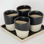 "Set of 4 Cups ""MIO TUO"" - Square Black-450"