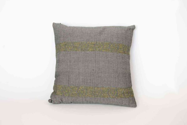 Black & Gray Como Cushion Crafted in Senegal, Tailored in Italy-0