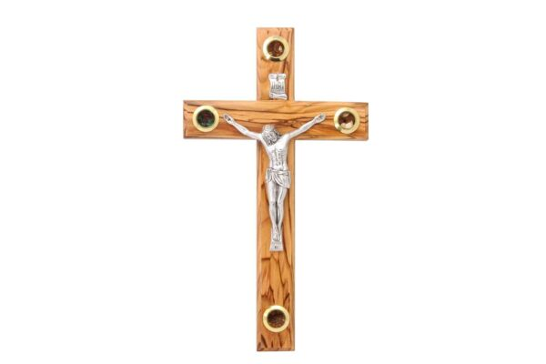 Olive Wood Crucifix Cross with Treasures from the Holy Land-0