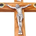 Olive Wood Crucifix Cross with Treasures from the Holy Land-271