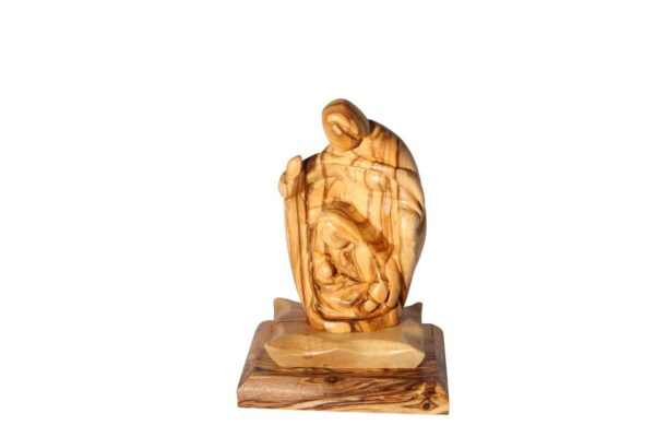 Holy Family Olive Wood Sculpture Made in the Holy Land-0