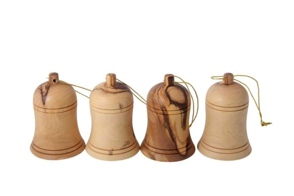 Olive Wood Christmas Bells Ornaments from the Holy Land-0