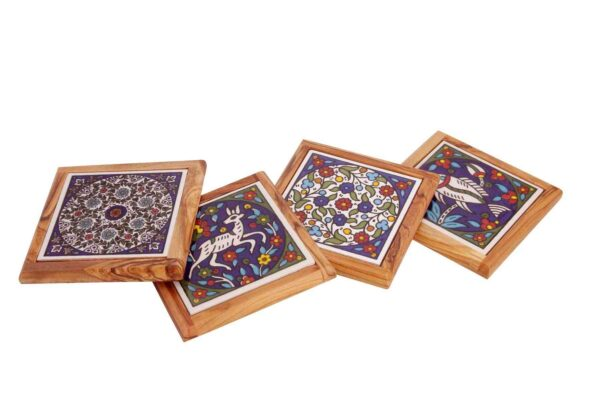 Olive Wood Coasters Made in the Holy Land (Set of 4 pieces) -0