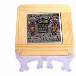 Armenian Ceramics and White Olive Wood Coaster -0