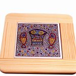 Armenian Ceramics and White Olive Wood Coaster -225