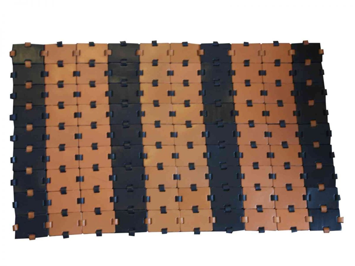 Black & brown Leather Carpet - Handmade in Italy-0