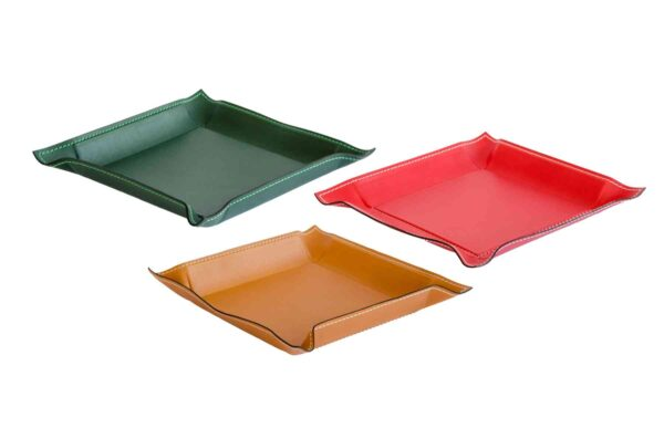 square leather pocket tray large - handmade in Italy-0