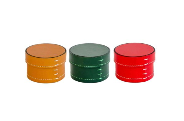 Medium Leather Round Scatole Boxes - Handmade in Italy-0