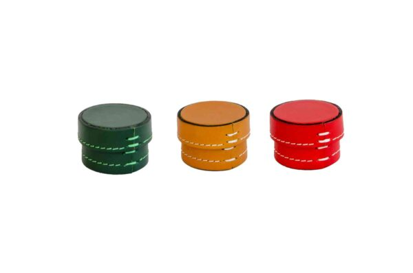 Small Leather Scatole Round Boxes - Handmade in Italy-0