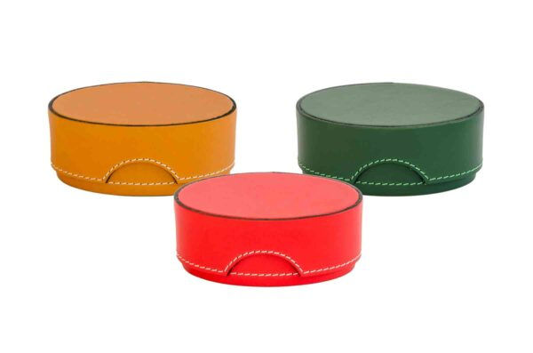 Large Leather Scatole Oval Boxes - Handmade in Italy-0
