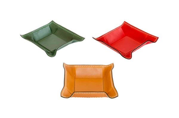 Svuota tasche square leather pocket tray small - handmade in Italy-0