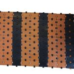 Black & brown Leather Carpet - Handmade in Italy-825
