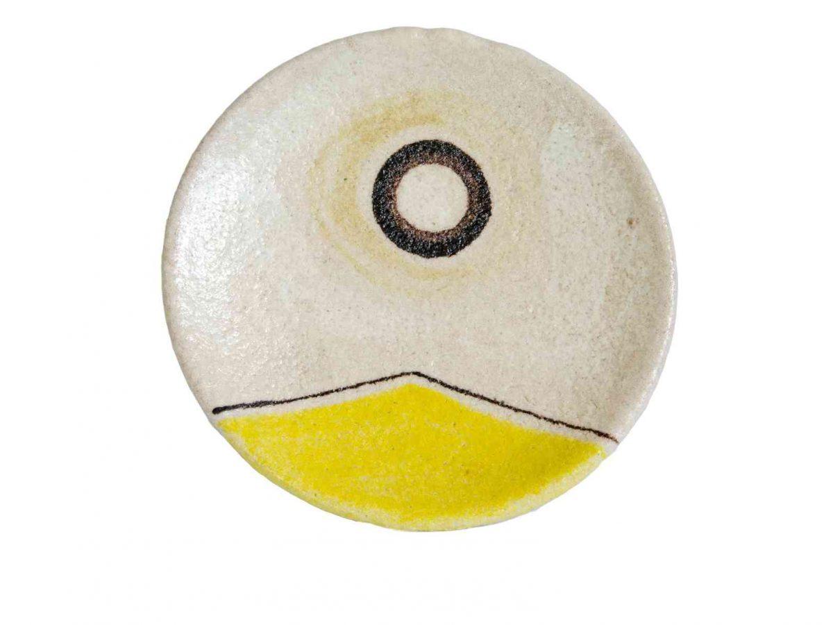 Yellow Ceramic Wall Plate - Handmade in Italy-0