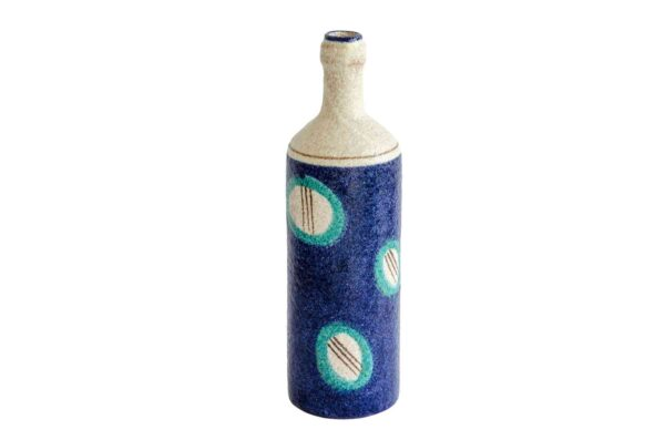 Blue Ceramic Bottle - Handmade in Italy-0