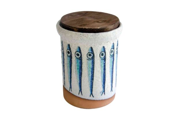 White Ceramic Anchovy Salty Pot - Handmade in Italy-0
