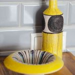 Yellow Ceramic Bottle - Handmade in Italy-971