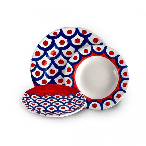 Set of Blue and Red Vietri Plates-0