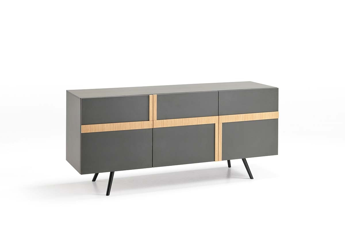 GINGER Dark Gray Sideboard with Oak Inserts-0