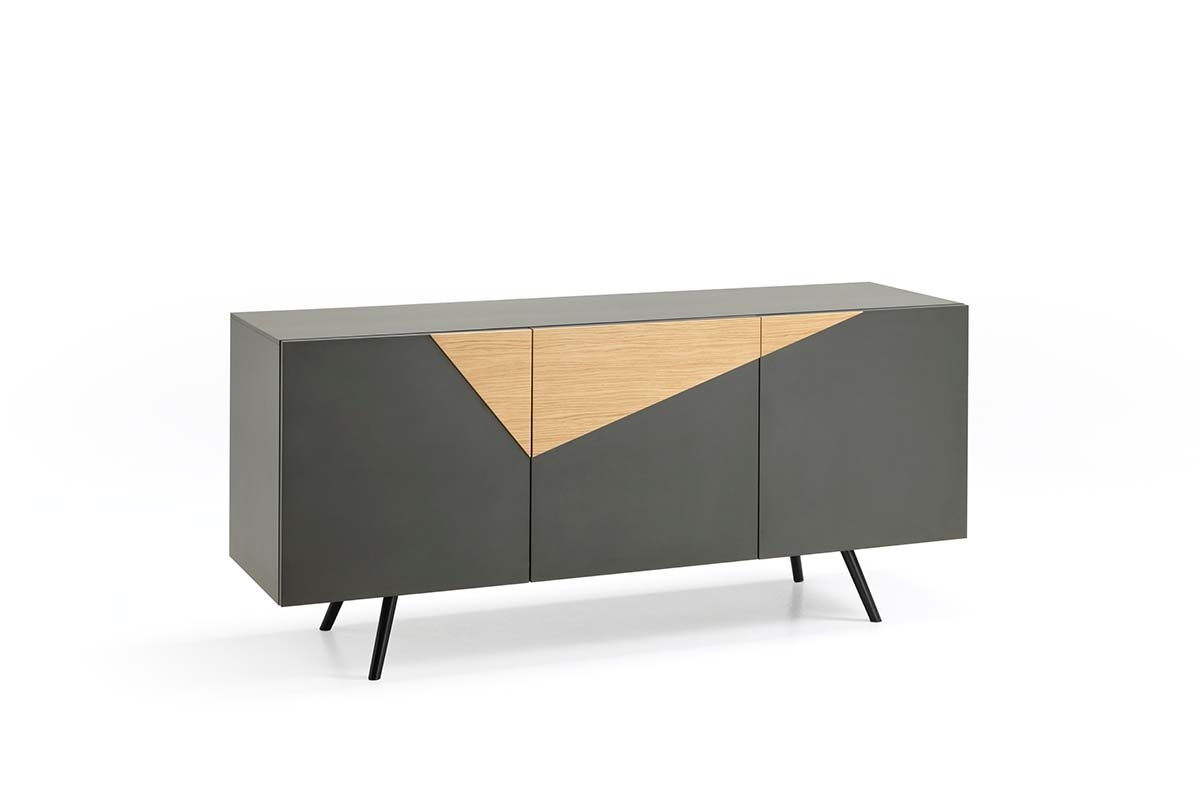 GINGER Dark Gray Sideboard with Oak Insert-0