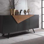 GINGER Dark Gray Sideboard with Oak Insert-2751