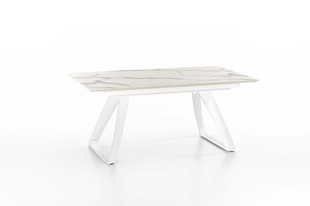BARRET Marble Extendable Table White Legs-0