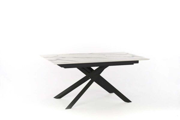 XAVIER Marble Extendable Table Black Legs-0