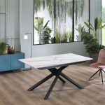 XAVIER Marble Extendable Table Black Legs-2664